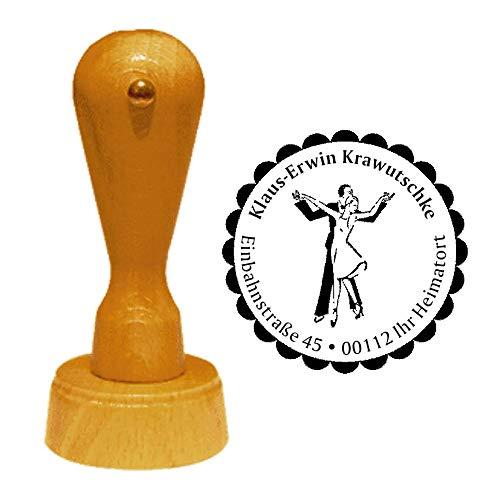 Stempel Adressstempel « Tanzen » Durchmesser ca. Ø 40 mm - mit persönlicher Adresse, Motiv und Zierrand - Tanzschule