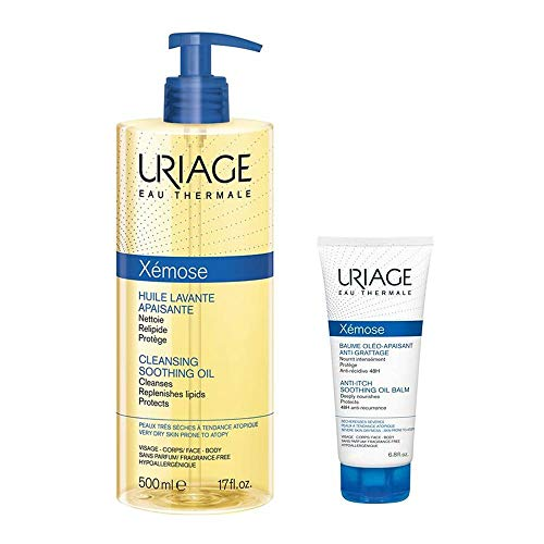 Uriage Eau Thermale Xémose Huile Lavante Apaisante 500 ml + Xémose Baume Oléo-Apaisant Anti-Grattage 50 ml Offert
