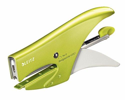 Leitz Cucitrice a pinza, Caricamento posteriore, Capacità fino a 15 fogli, Metallo, Colore: Verde metallizzato, WOW, 55472064