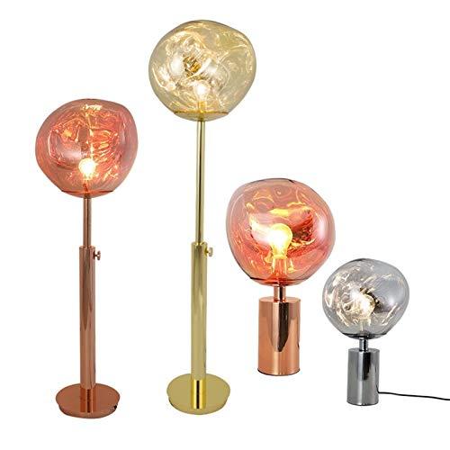 Lámpara de Mesa Pantalla de PVC de fusión Minimalista Lámpara de Mesa/lámpara de pie Lava Sala de Estar Irregular Dormitorio Lámpara de Noche Iluminación E27 (Lampshade Color : Gold Dia 28cm)