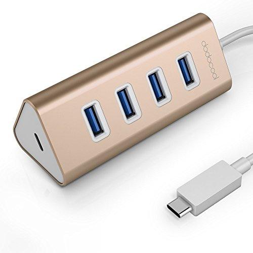 dodocool Hub USB C, Tipo-C 4 Puertos USB 3.0 con la función PD (Power Delivery), USB-C Puerto de Carga para MacBook/Google Chromebook Pixel
