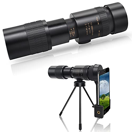 Super 4K 10-300X40mm Telephoto Zoom BAK4 Monocular Telescope with Phone Adapter Tripod for Bird Watching Hunting Hiking Travelling Gift Portable Pocket