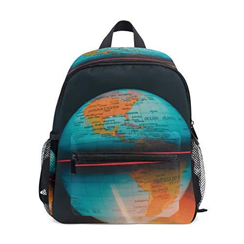 Kleine Schultasche Erde Karte Globus Rucksack für Mädchen Jungen Kinder Mini Reise Daypack Grundschule Schüler Büchertasche