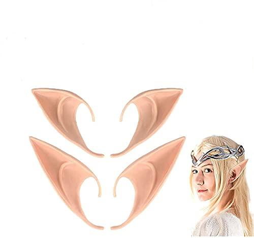 U/N Hua Orejas de Elfo, Orejas de Hadas Divertidas,2 Pares Orejas de Elfo Cosplay Disfraz de Duendecillo Oreja Ltex Accesorios para Fiestas de Halloween Carnaval