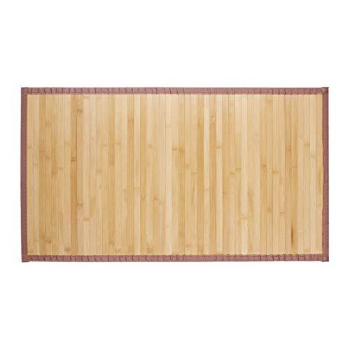 Relaxdays, Natur Bambusmatte, feuchtigkeitsresistent, rutschfest, Textilrand, Bad Fußmatte, Duschmatte, Sauna, 80x45 cm, Bambus, Stoff, 80 x 45 cm