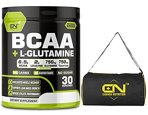 Canada Nutrition Instantized BCAA Power Punch 2:1:1 Workout Energy Drink | Pre/Post Workout Supplement | Recovery | Muscle Protein Synthesis, BCAA with L-Glutamine [30 Serv, Green Apple] Free Gym Bag
