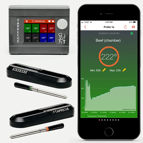 Tappecue AirProbe Deluxe Bundle - Smart WiFi and Wireless Meat Thermometer for Cooking, Made in USA   2 x AirProbes for Cooking, Internet Enabled Cloud Storage & Alarm. Works with Android & iOS Apps