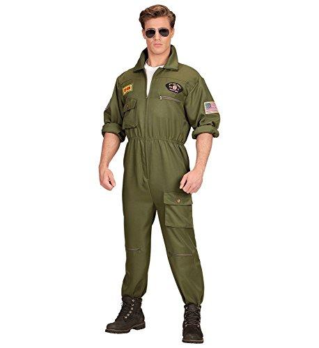 shoperama Herren-Kostüm Kampfjet Pilot Kampfflieger Piloten-Overall Jetpilot Kampfpilot Flieger Army, Größe:L