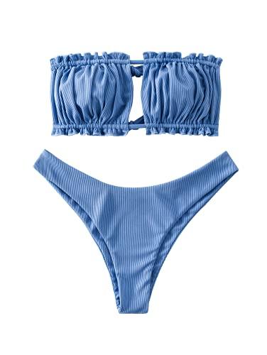 ZAFUL Womens High Cut Bandeau Bikini Sexy Cutout Ribbed Swimsuit 2 Piece Ruffle Tie Bathing Suits(Silk Blue,M
