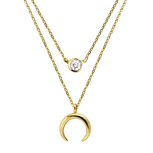 SINGULARU ® - Pack 2 Collares Diamond + Mini Moonset Oro para Mujer Plata de Ley 925 con baño de Oro de 18k - Joyas mujer