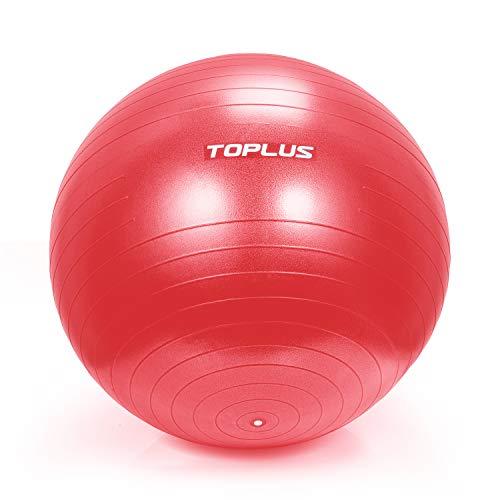 TOPLUS Ballon d'exercice pour gymnastique avec pompe rapide pour yoga, pilates, fitness, grossesse...