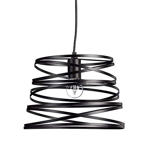 Vetrineinrete Lampadario a sospensione da soffitto con paralume in metallo a vortice traforato design contemporaneo moderno lampada da soffitto A08 (Nero) Z42