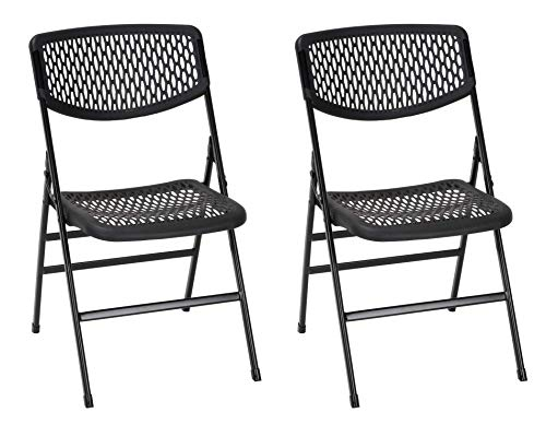 Cosco Products COSCO Commercial Mesh, 2-Pack Folding Chairs, 2 Pack, Black Resin (Renewed)