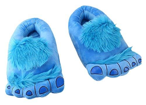 DATUI Pantuflas de aventura de monstruo peludo, cmodas, clidas, para invierno, para adultos (color: azul, talla: 5.5/6 UK)