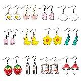 Y2K Halloween-Ohrringe für Frauen, lustige Ohrringe für Mädchen, witzig, niedlich, Bär, Gummi, Dinosaurier, Ente, Wolke, Kirsche, Schnuller-Set, Ohrringe