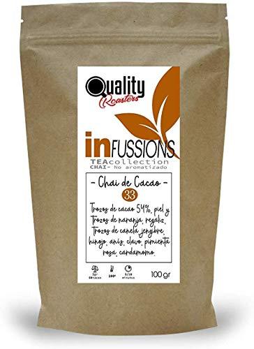 Te Chai. Chai de Cacao. Blend. Con trozos de cacao (54%), pimienta rosa, anis, regaliz, piel y trozos de naranja, trozos de canela, jengibre, hinojo. Antioxidante. 100 gramos