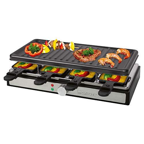 Clatronic RG 3757 Raclette-Grill, 1400 Watt, für bis zu 8 Personen, Grillfläche: ca. 42 x 21 cm, Grillplatte und Pfännchen antihaftbeschichtet (leicht zu reinigen), schwarz