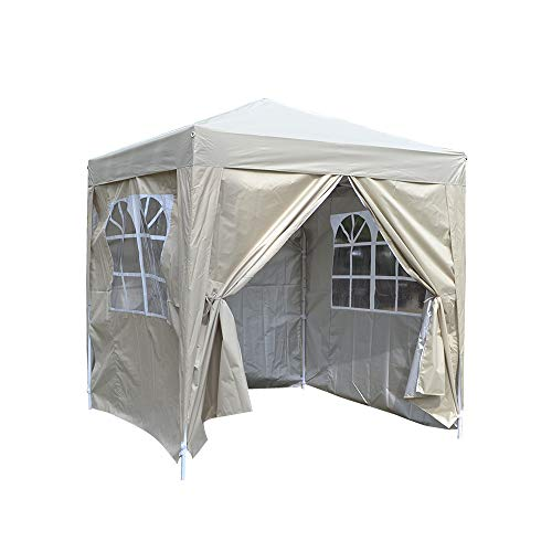 2 x 2m Pop Up Gazebo Outdoor Marquee Garden Awning Party Tent Folding Canopy with 4 Sidewall and Carrying Bag for Festival Wedding (Beige)