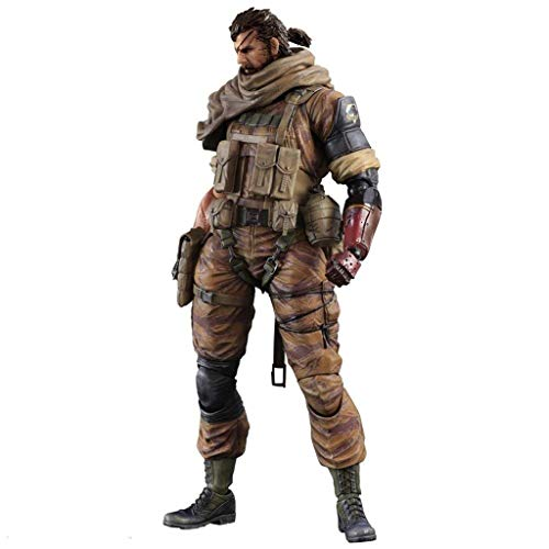 Siyushop Metal Gear Solid: Der Phantomschmerz: Venom Snake Play Arts Kai Figur - Ausgestattet Mit Waffen Und Austauschbaren Händen - Hohe 26CM (Gold Tiger Version)