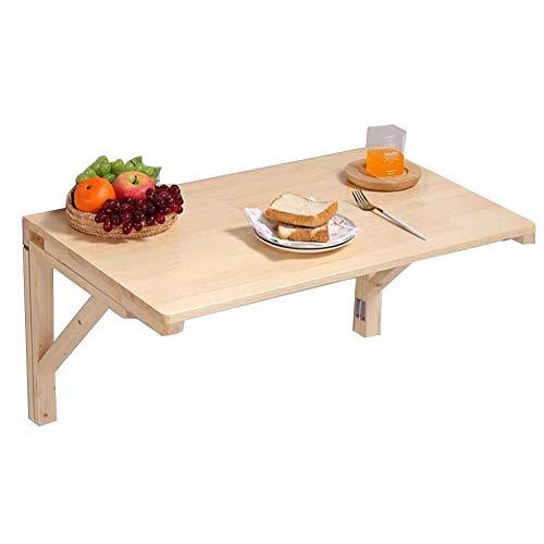 Kantoor/magazijntafel, eenvoudige klaptafel, wandtafel, eettafel van massief hout, draagbaar, ruimte om op te bergen, 8 maten (kleur: houtkleur, grootte: