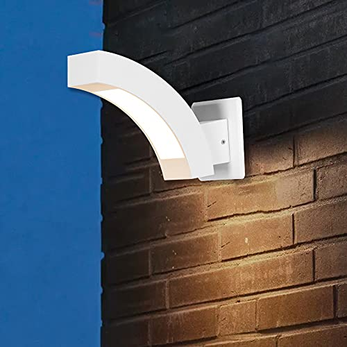 Inowel Wall Light Outdoor LED Wall Mount Lamp Modern Wall Sconce Lighting Meniscus Lantern Fixture White Aluminum Lights for Porch Front Door Garden Yard Patio IP54 Waterproof 7.5W 600Lm 3000K