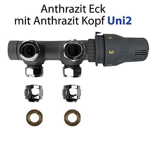 MITTELANSCHLUSS GARNITUR 50MM Multiblock Universal- und Eckausführung (Anthrazit Eckausführung mit Anthrazit Thermostat)