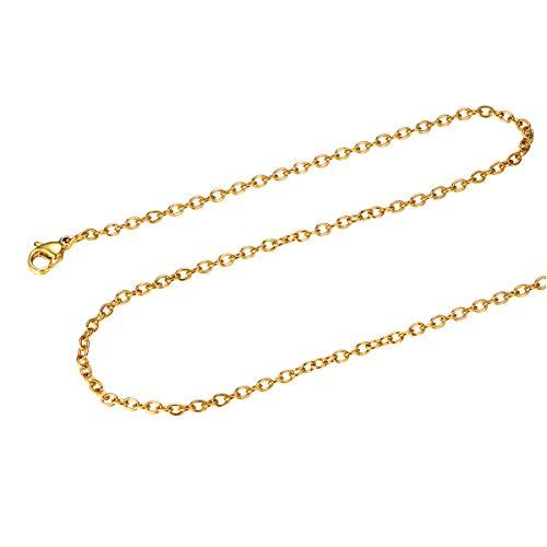 FOCALOOK Collar sin Colgante 2mm Cadena Básica de Rolo Acero Inoxidable Bañado en Oro/Oro Rosado/Negro 45-70cm Opcional con Caja de Regalo
