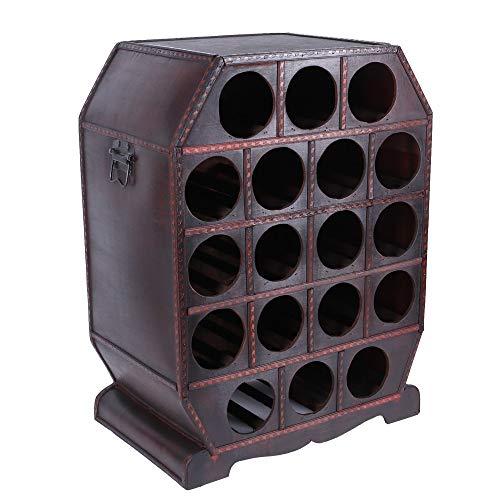 Botellero para 18 botellas de vino, estilo colonial, madera contrachapada, soporte para botellas de vino, estilo rústico