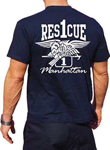 Feuer1 T-shirt fonctionnel Navy avec protection UV 30+, Rescue 1 Manhattan – Eagle 3XL bleu marine