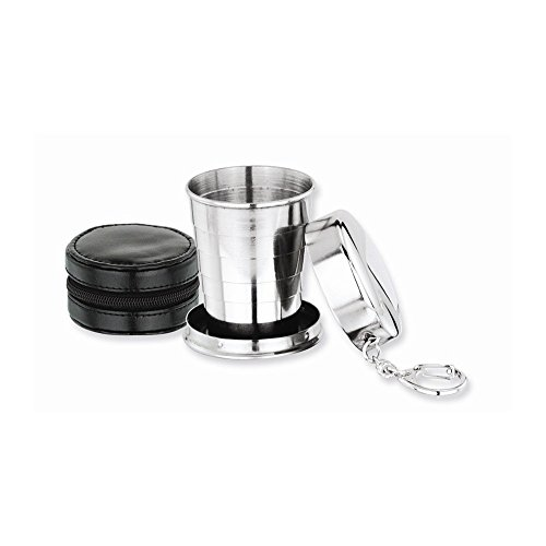 Diamond2Deal Stainless Steel Collapsible Cup Key Ring for Women with Black Case Best, Anniversary, Birthday
