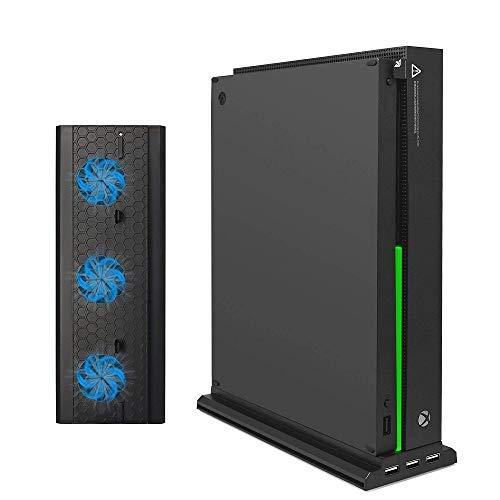 Negro 3 Externo USB Ports Soporte Vertical con 3 Ventiladores para la Consola Xbox One X