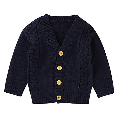 DaMohony Suéter de Manga Larga para Niños Pequeños Prendas de Punto Abrigo de Punto para Bebé Cárdigan con Botones