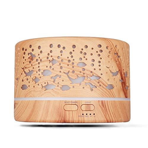 HAIK 500 ml de Aceite Esencial Difusor Difusor perfumado humidificador for el Dormitorio Oficina Yoga SPA con 7 Luces LED de Color Bebés de Vapor Caliente y Frío (Color : Beige)