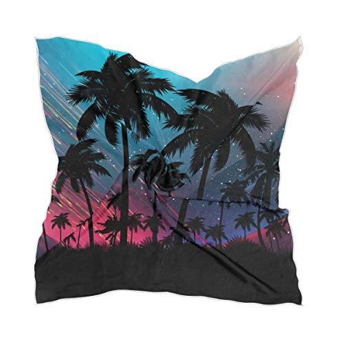 Bufanda cuadrada psicodélica palmera de neón tropical para mujer
