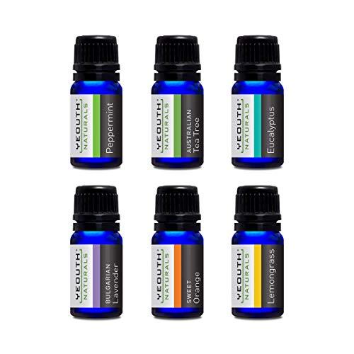 YEOUTH Pure etherische oliën voor aromatherapie - Beste set van 6 - Australische theeboomolie, pepermuntolie, eucalyptusolie, lavendelolie, zoete sinaasappelolie, citroengrasolie met geurverspreider - zes 10ML