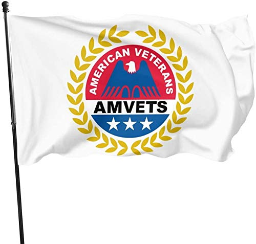 BUSHUO American Veterans Amvets All Weather Outdoor Garden Flag with Grommzets Tough Durable 3x5 Ft