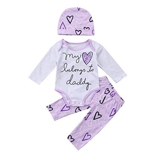 David A Beltran - 3 piezas adorables para recién nacidos, ropa de bebé, de algodón, de manga larga + pantalones, ropa 0-2T Morado Morado ( 24 Meses