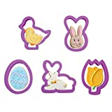 Olywee Cortadores de Galletas de Pascua de 5 Piezas para Hornear Juego de Cortadores de Galletas de Fondant de Plástico con Forma de Cara de Huevo, Conejito, Pollito, Tulipán y Conejito