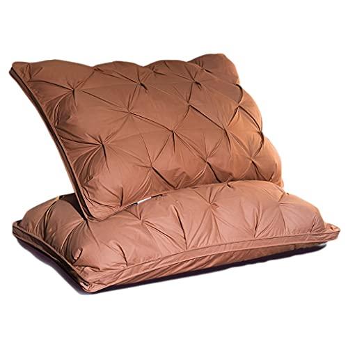 WXYPP Un par de Almohadas Suave Almohada para Dormir para Dormir Lleno de algodón de Seda y Terciopelo de Plumas (Color : Brown, Size : Middle Pillow)