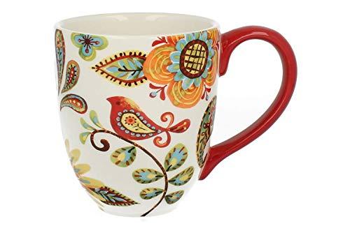 Duo Jumbotasse Becher XXL folkloristische Deko 810 ml aus Keramik Trinkbecher Smoothie Becher Geschenk Büro Tasse für Kaffee Teetasse Cappuccino Kaffeebecher Jumbo-Tasse Riesentasse XXXL (Kurpie 3)