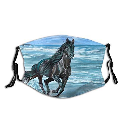 Pferd, schöne schwarze Pferde, die am Strand laufen, Unisex, multifunktional, atmungsaktiv, Staubfilter, Gesicht und Mundbedeckung, weiß bedruckt mit 2 Filtern