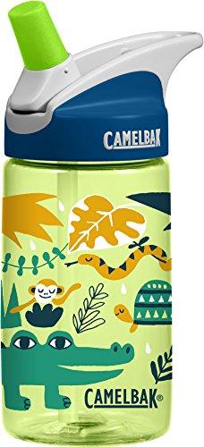 CamelBak Eddy 0.4-Liter Kids Water Bottle – - CamelBak Kids Big Bite Valve - Spill Proof- - Water Bottle For Kids - BPA-Free Water Bottle – 12 Ounces, Jungle Animals, Bottle Only