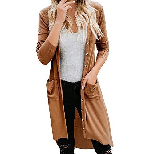 Womens gedrapeerd open voor lange mouw dikke gebreide vest trui, knop naar beneden solide trui jas jassen bovenkleding tops