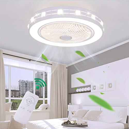 Ventilador De Techo Con Iluminación Luz LED Moderna Temperatura De 3 Colores Velocidad Del Viento Ajustable Regulable Con Control Remoto Para Dormitorio Sala De Estar Comedor 48W (Ø55 * H20cm)