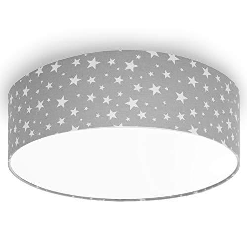 youngDECO Deckenlampe für Kinderzimmer, 3xE27, Ø45cm großer Lampenschirm aus Textil, Sterne auf Pastellgrau, skandinavische Kinderzimmer-Deko, Deckenleuchte für Kinderzimmer, hergestellt in der EU