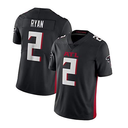 EBDC Matt Ryan Atlanta Falcons 2# Rugby-Trikot Für Erwachsene Männer Jugend Classic American Football Sportswear, atmungsaktive Dochtwirkung schnell trocknend (S-XXXL)-Black-M(178~183cm)