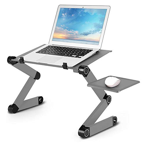 Amazing Tour Foldable Laptop Stand Desk Adjustable Office Laptop Table Computer Desk Notebook Stand With Mouse Pad - with Mouse Platform Anti-Slip - Silver