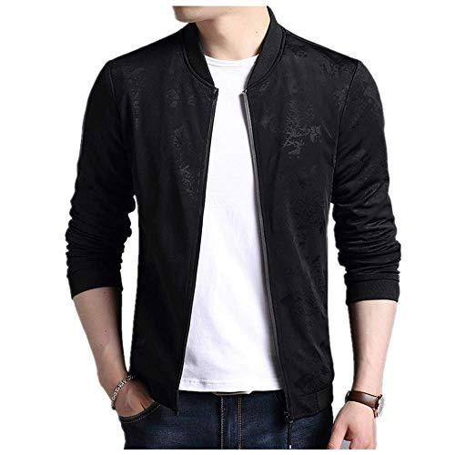 Loeay Vestes décontractées pour Hommes Casual élégant Manteau de Bombardier léger Vintage Outwear Manteau Coupe-Vent Slim Fit Pattern Streetwear Automne Noir M