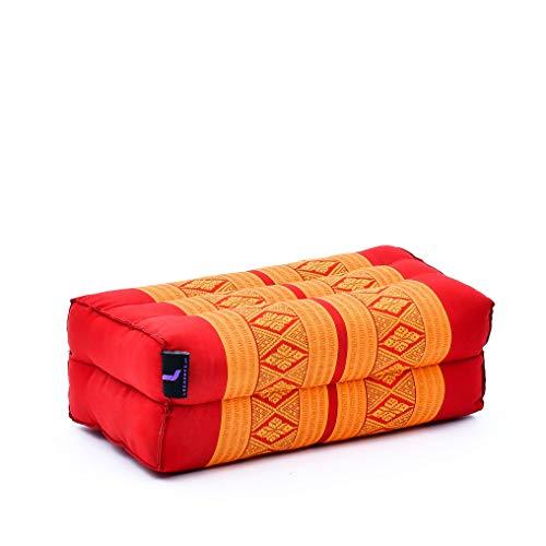 Leewadee Meditationskissen Yogakissen Yoga Block Yoga Zubehör Yoga Klotz Yoga Kissen Ökologisches Naturprodukt Thaikissen Nackenkissen, 35x18x12 cm, Kapok, orange rot