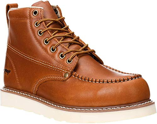 "Golden Fox Work Boots 6"" Men's Moc Toe Wedge Comfortable Boot for Construction (10.5 (D) M US, Brunn)"